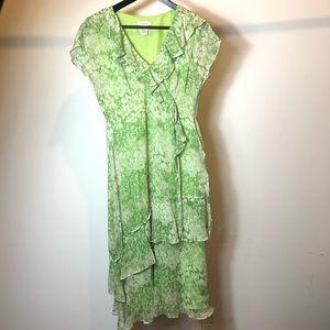 SUNDANCE Green silk ruffled chiffon cocktail dress